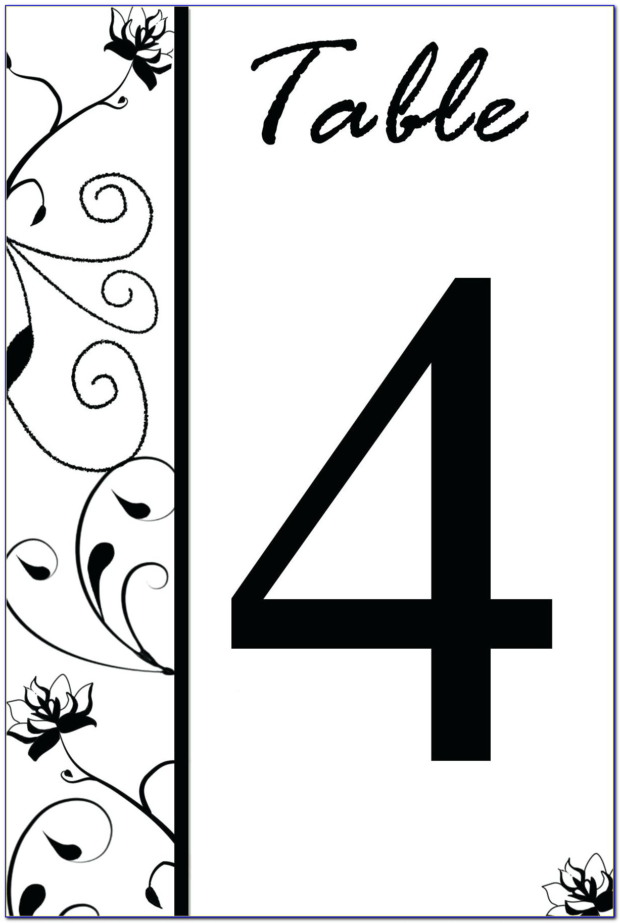 Restaurant Table Numbers Template