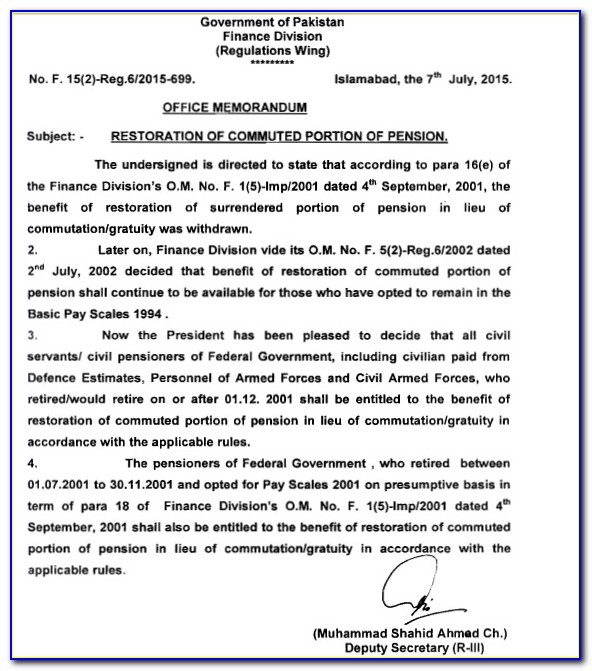 Restoration Of Commuted Pension Form