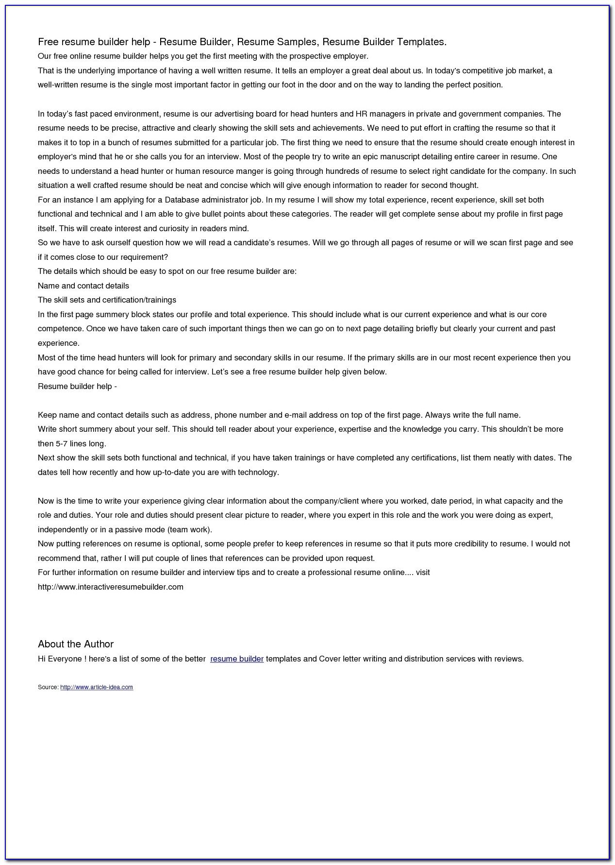 21 Cover Letter Template For Free Resume Builder With Free Regarding Free Resume Builder Download