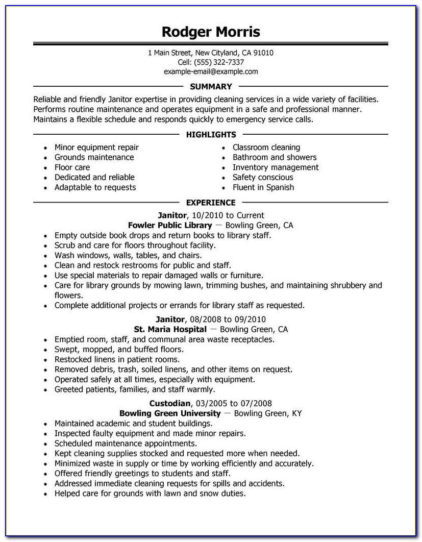Janitor Resume Sample Template | Resume Builder Throughout Janitor Resume Sample Template