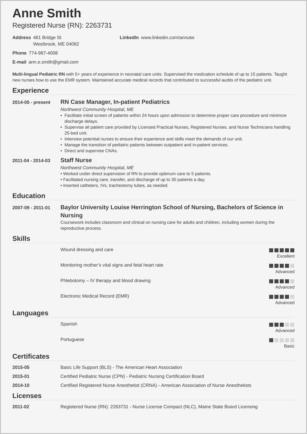 Resume Example For Certified Nursing Assistant