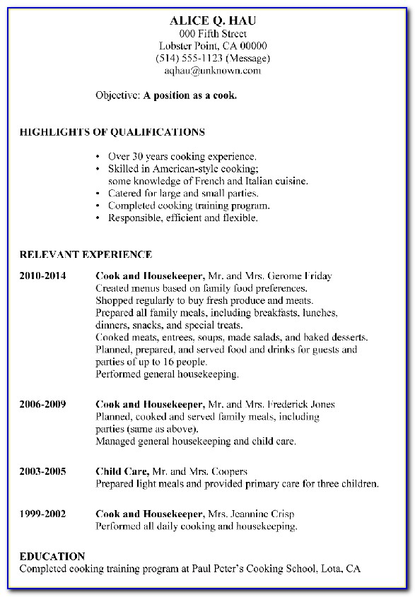Resume Examples For Cooks