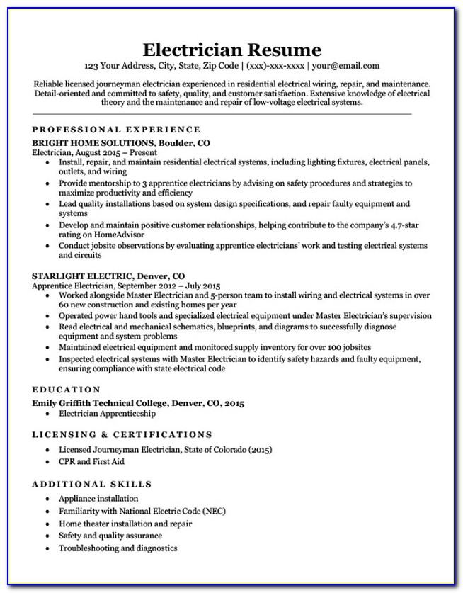 Resume Examples For Electricians