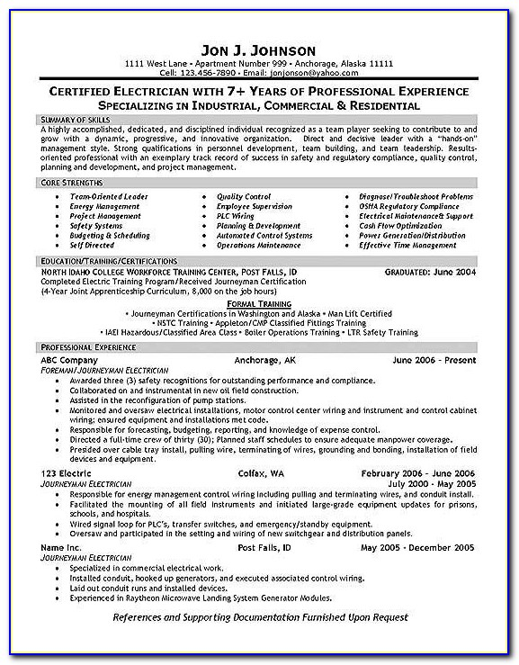 Resume Examples For Journeyman Electricians