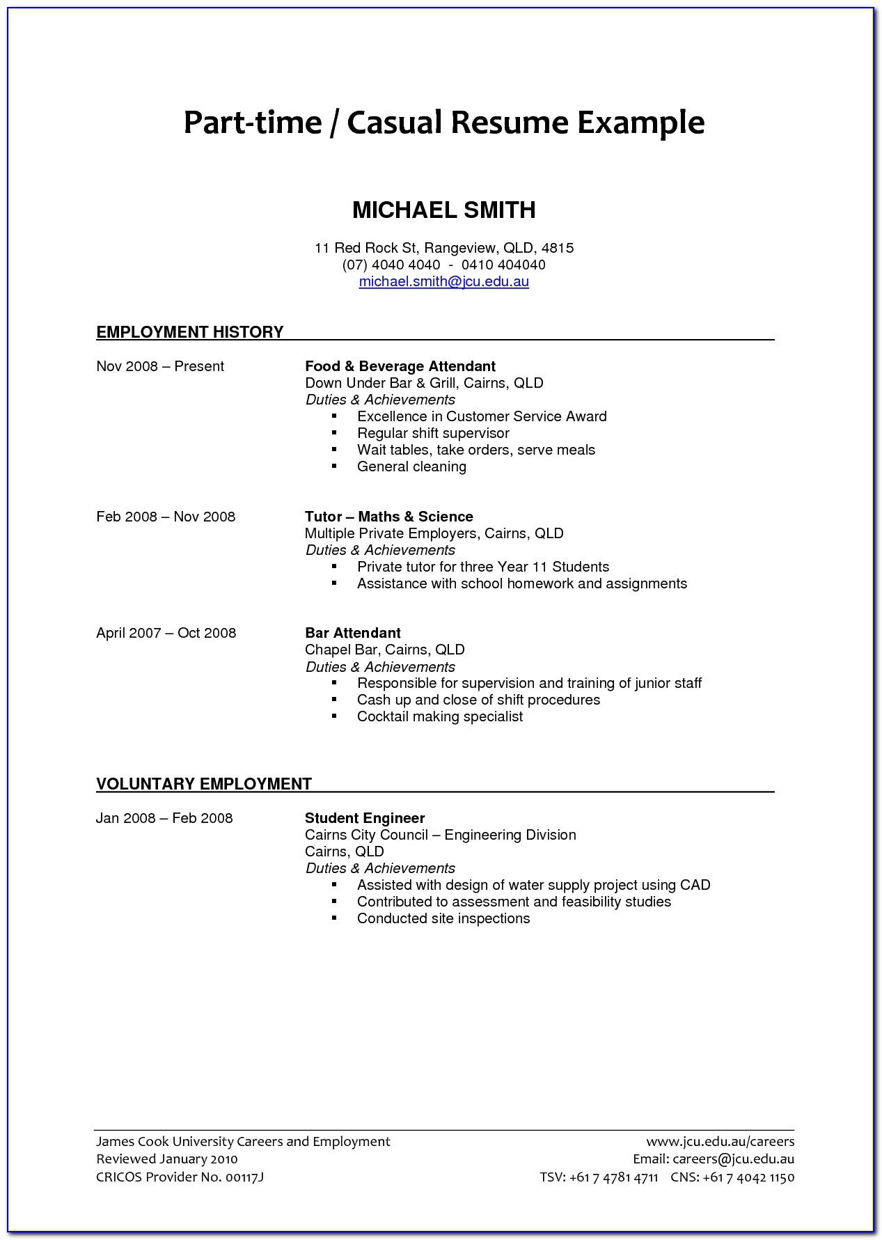Resume Examples For Part Time Jobs