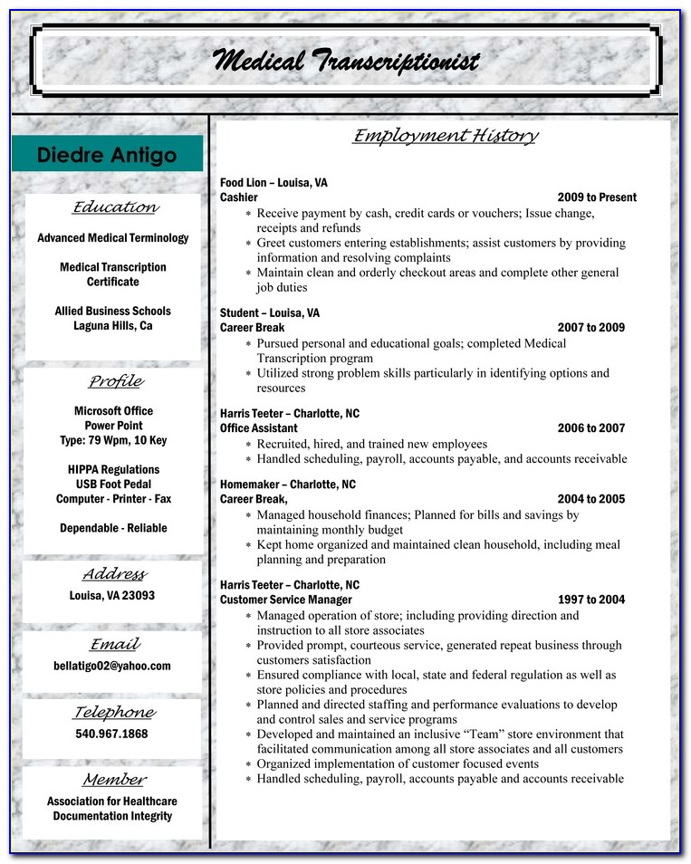 Resume Examples Medical Billing And Coding