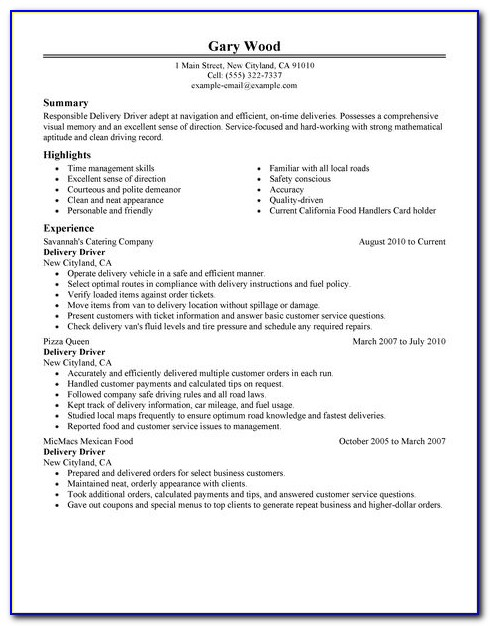 Resume For Car Driving Job