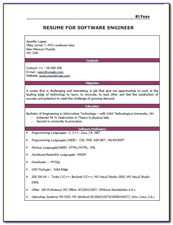 Resume For Freshers Engineers Online