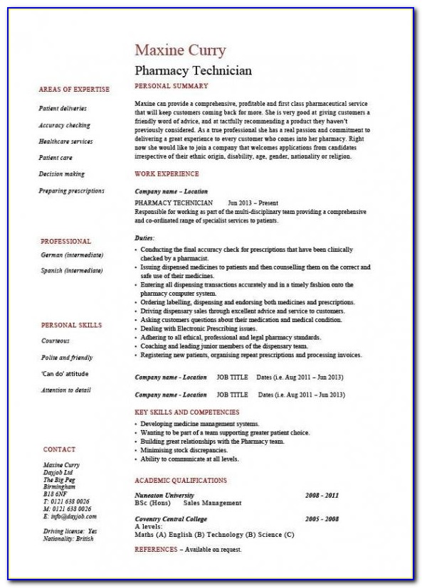 Resume For Pharmacy Technician Students
