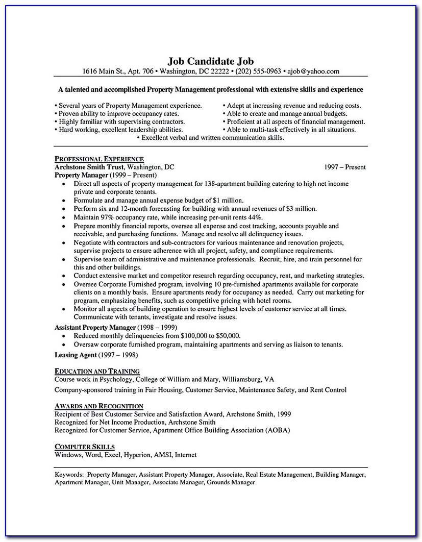 Property Manager Resume Sample … | Pinteres… In Assistant Property Manager Resume Template