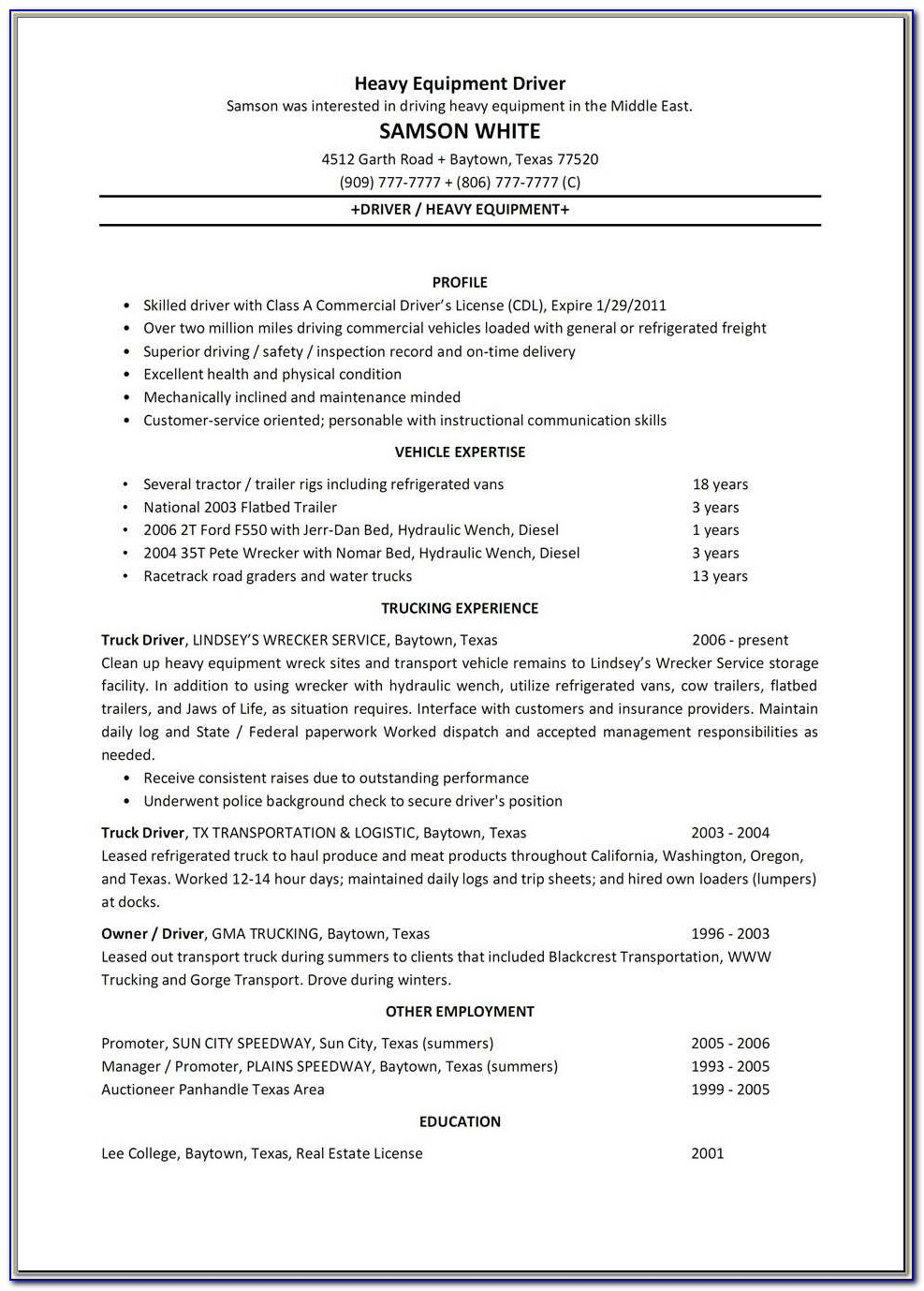 Heavy Equipment Truck Driver Resume Sample Vinodomia Cdl Driver Resume