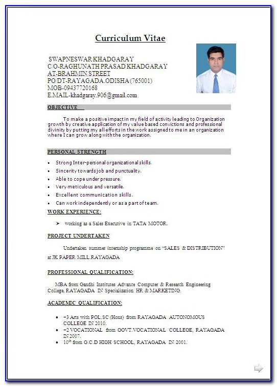 Resume Format Examples 2018 Vincegray2014