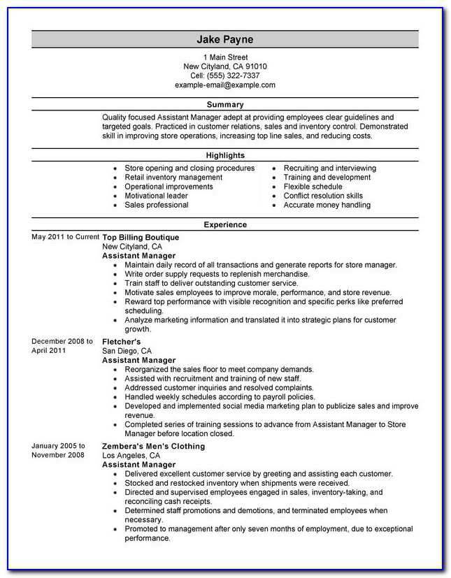 Resume Format For Assistant Manager Accounts Receivable