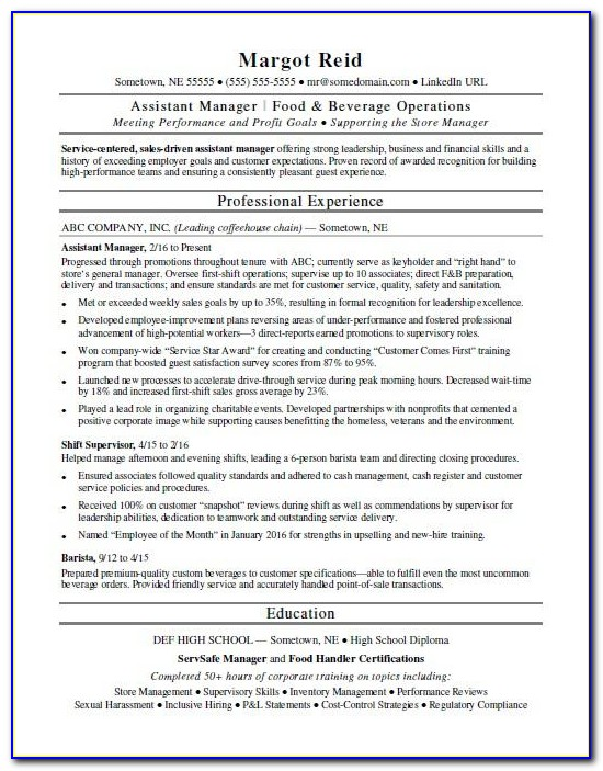 Resume Format For Assistant Manager Operations
