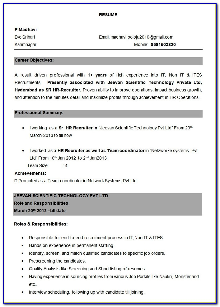 Professional Resume Template 52 Free Samples Examples Format Resume Format For Experienced Professionals Resume Format For Experienced Professionals
