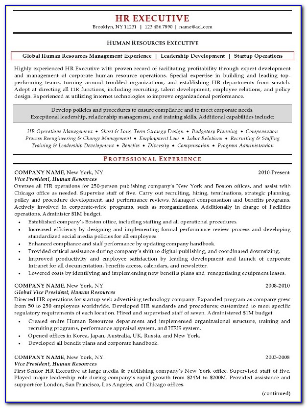 Resume Format For Hr Admin Executive