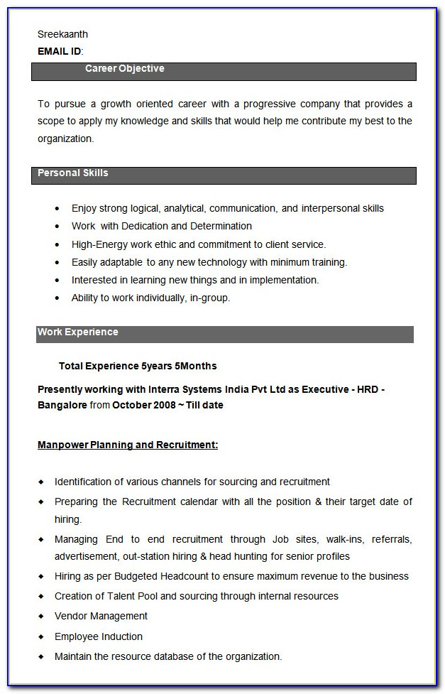 Resume Format For Hr Executive Doc