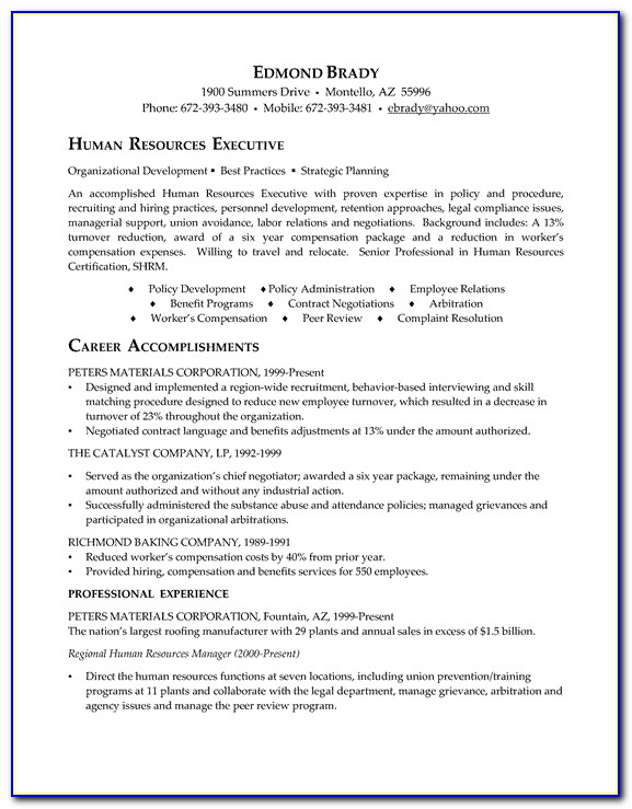 Resume Format For Hr Executive Experience