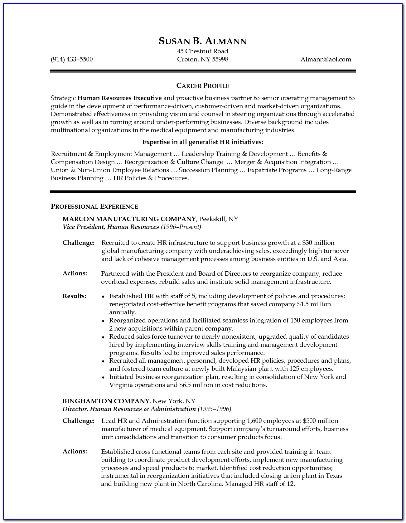 Resume Format For Mba Hr Executive
