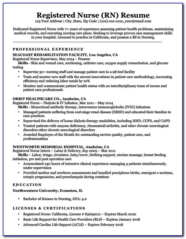 Resume Format For Nurses Abroad