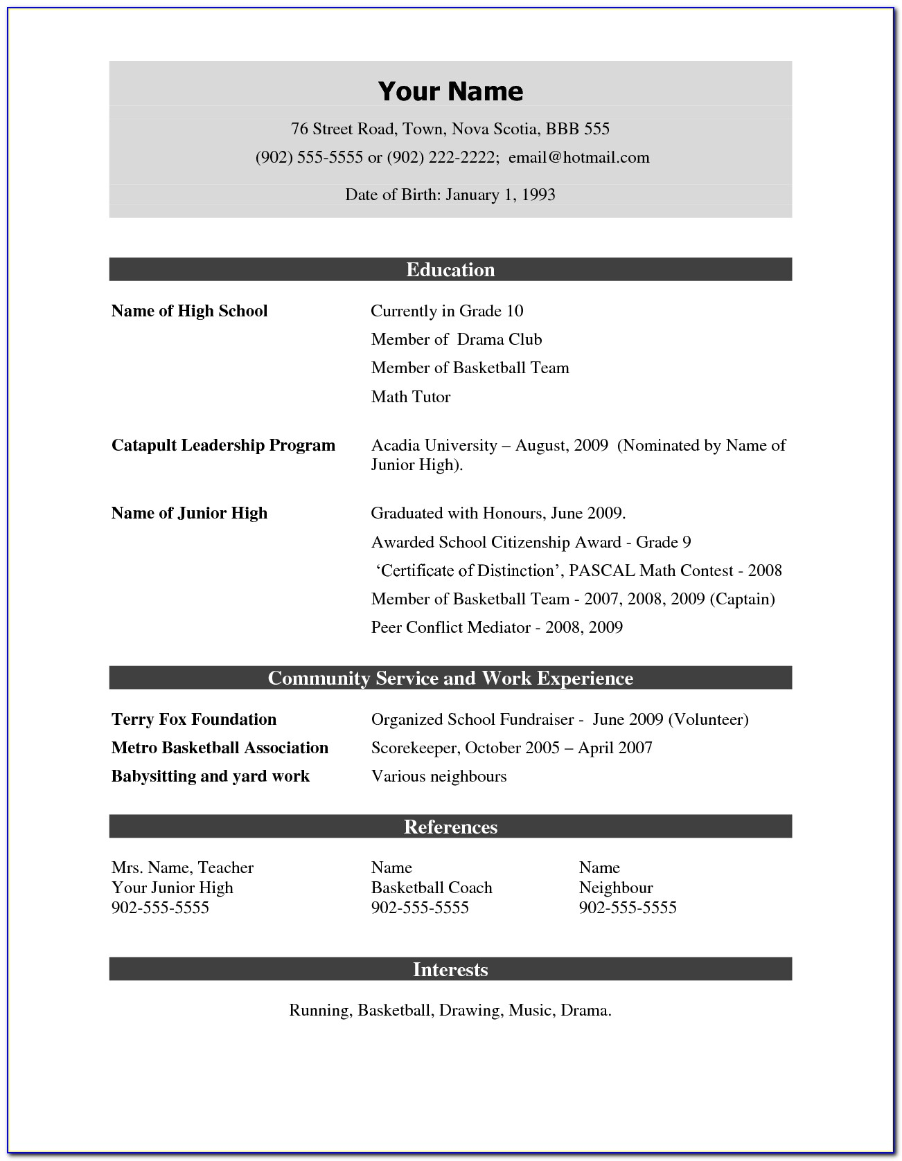 Resume Format For Nursing Job Free Download