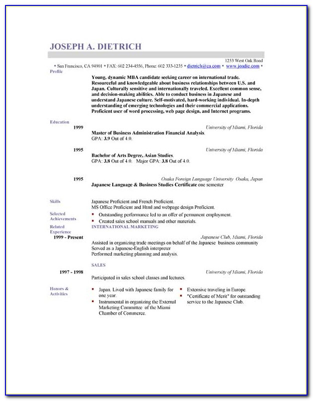 Resume Format Free Download In Word