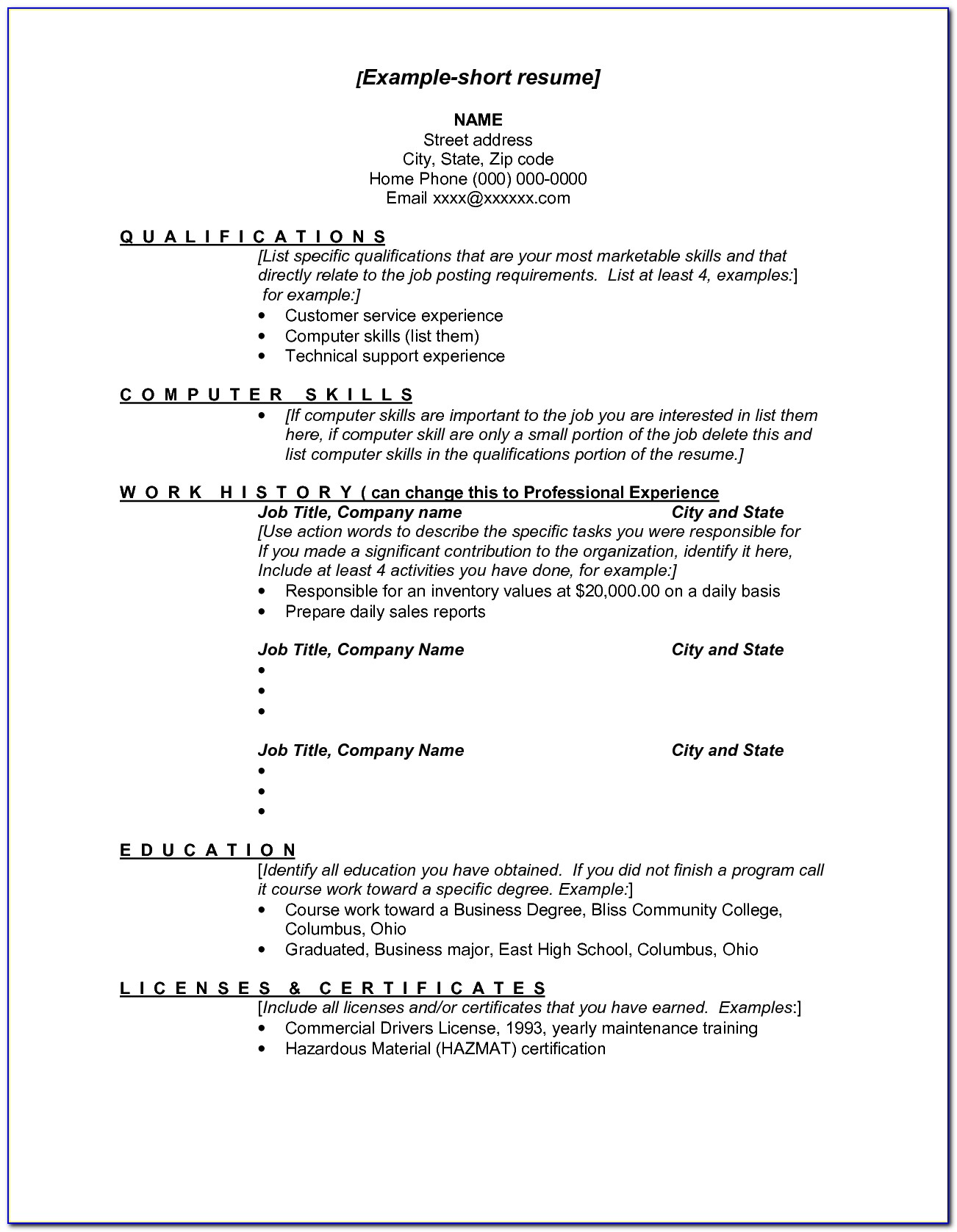 Resume Layout Examples 2017