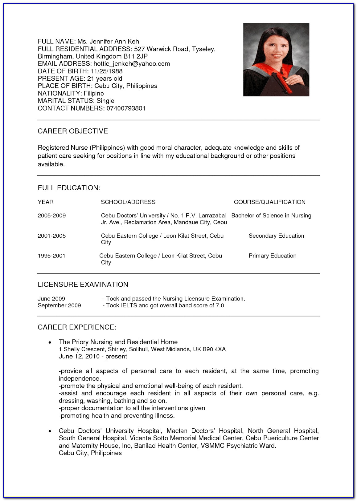 Resume Objective Examples For Registered Nurses