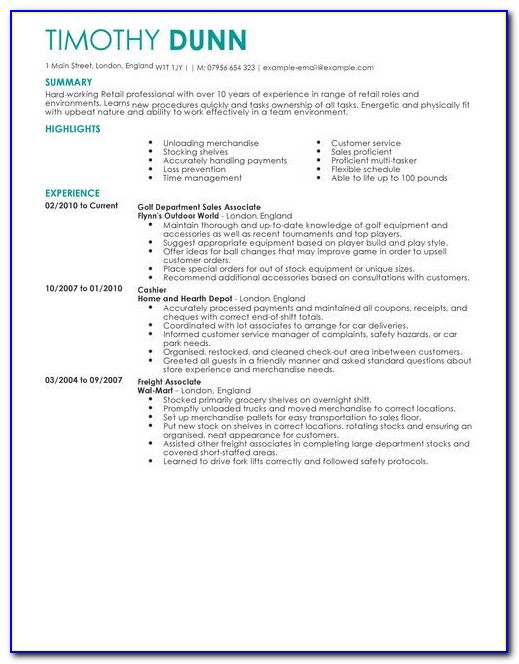Resume Objective Examples For Retail Jobs