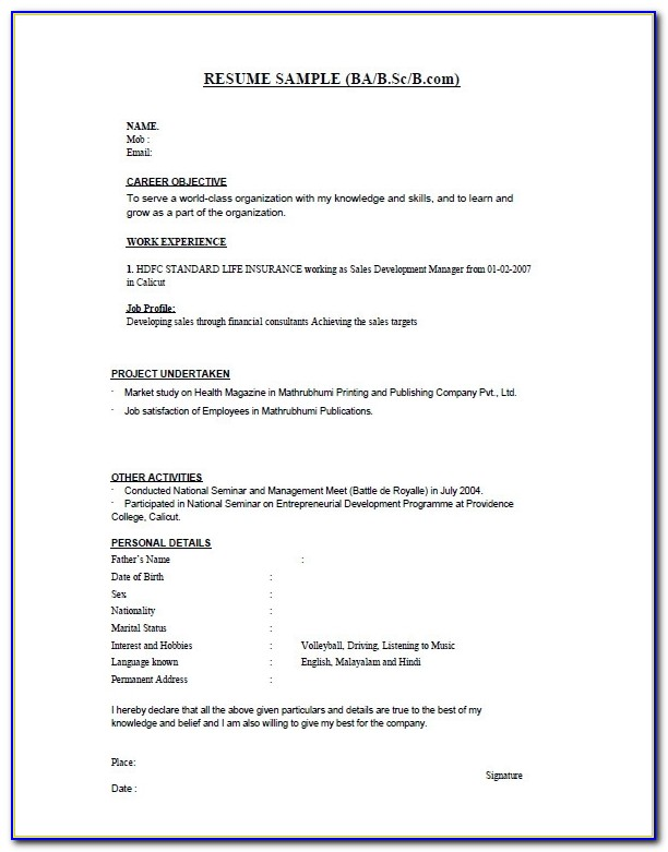 28+ Resume Templates For Freshers Free Samples, Examples Within How To Prepare Cv Format