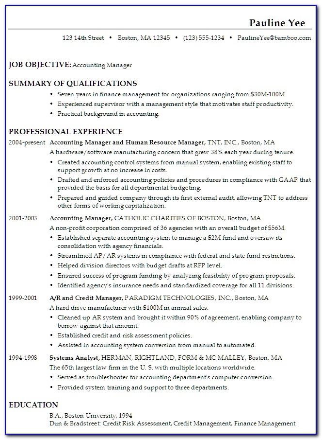 Resume Samples For Accounts Executives