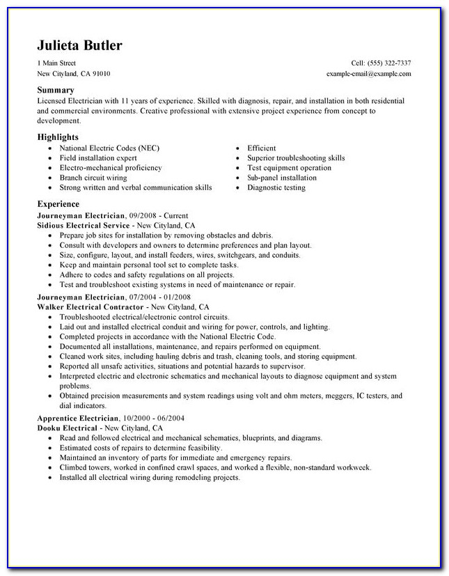 Resume Samples For Electrical Engineer