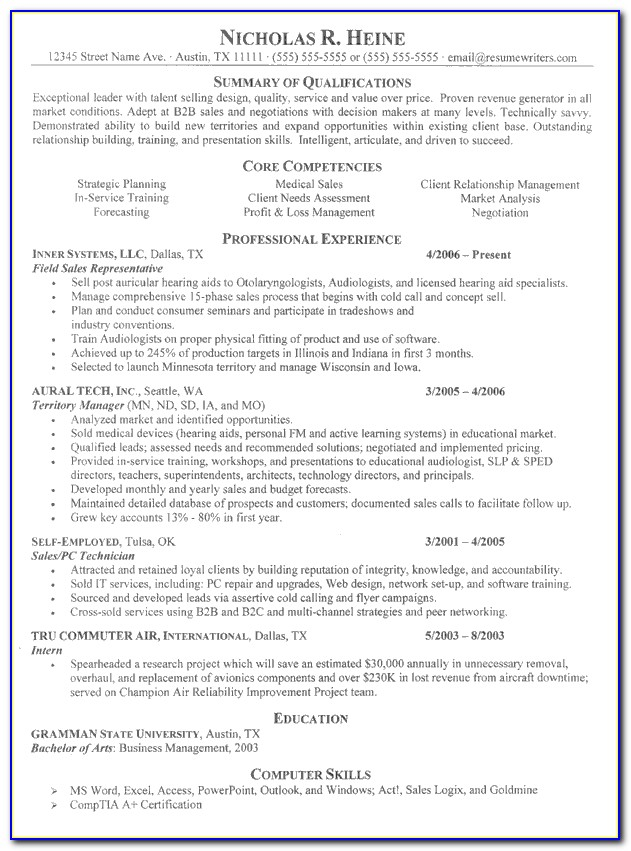 Resume Samples For Experienced Professionals