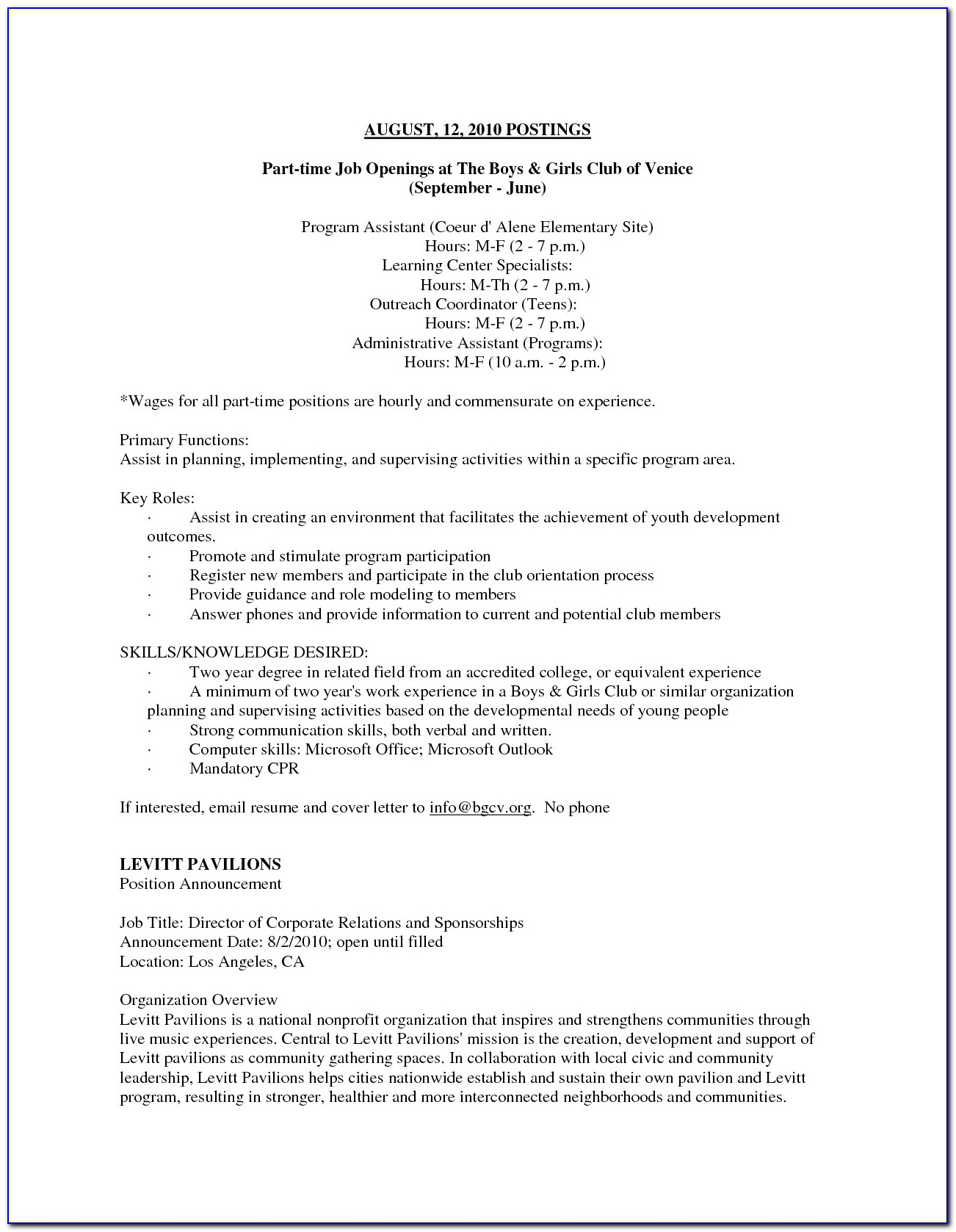 Resume Samples For Part Time Jobs Students