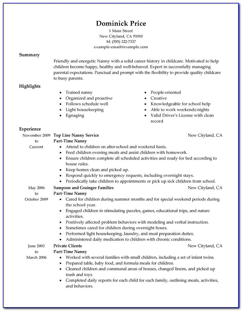 Resume Samples For Part Time Jobs