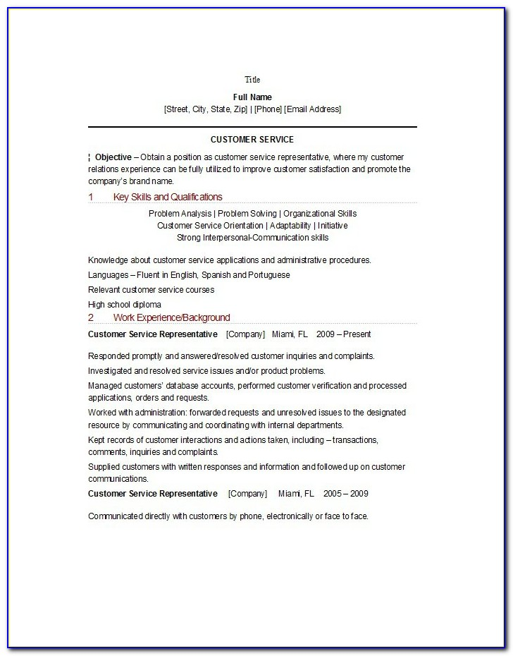Resume Summary Example For Customer Service