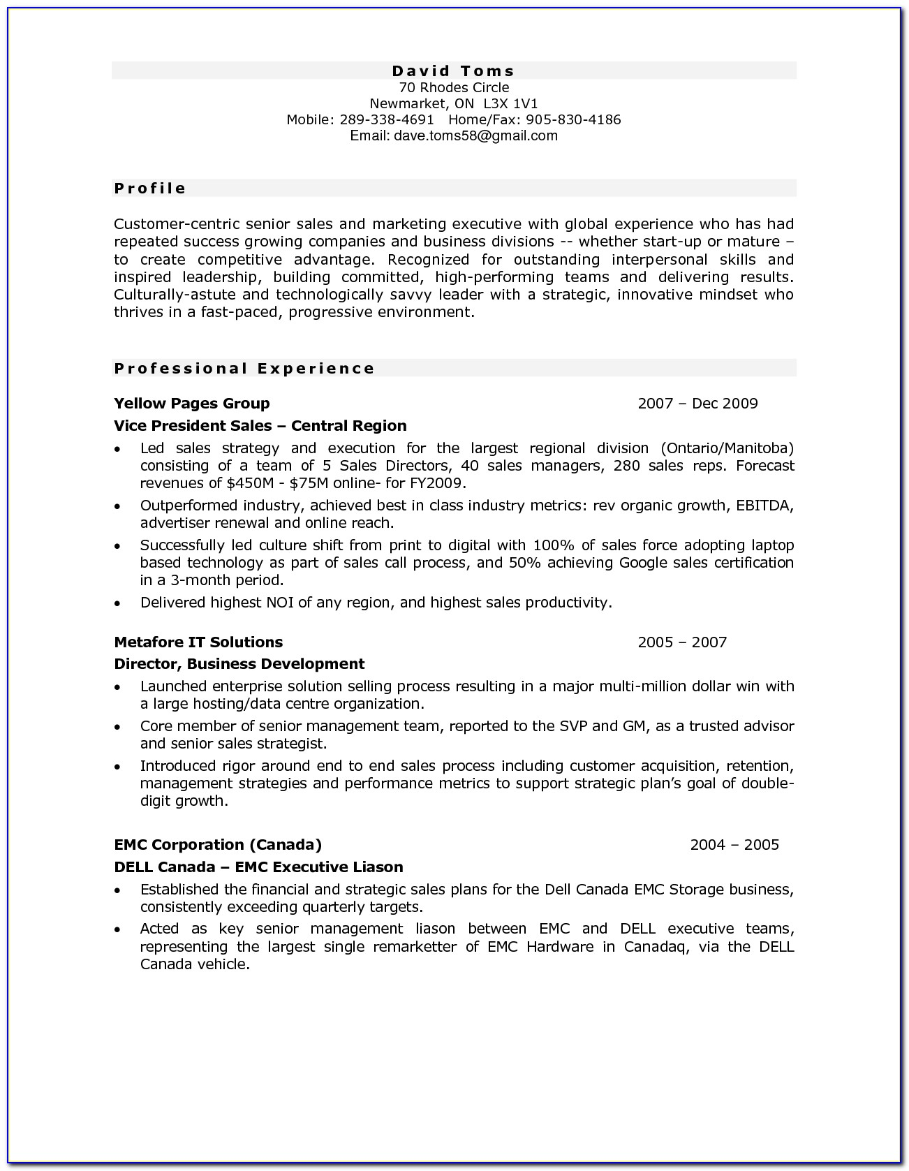 Resume Template Canada Government