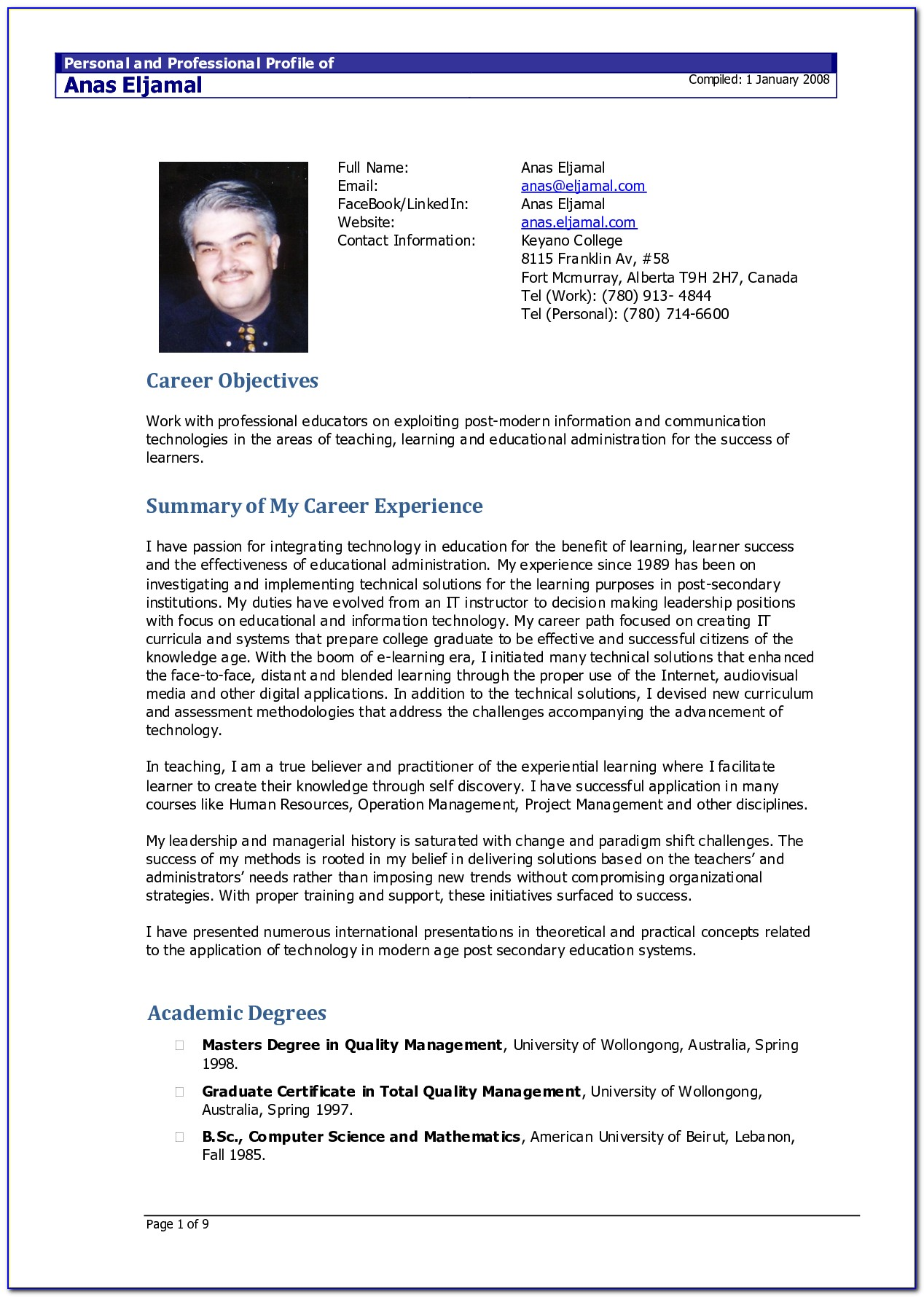 Resume Template Doc Download Free