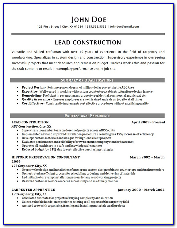 Resume Template For A Construction Worker