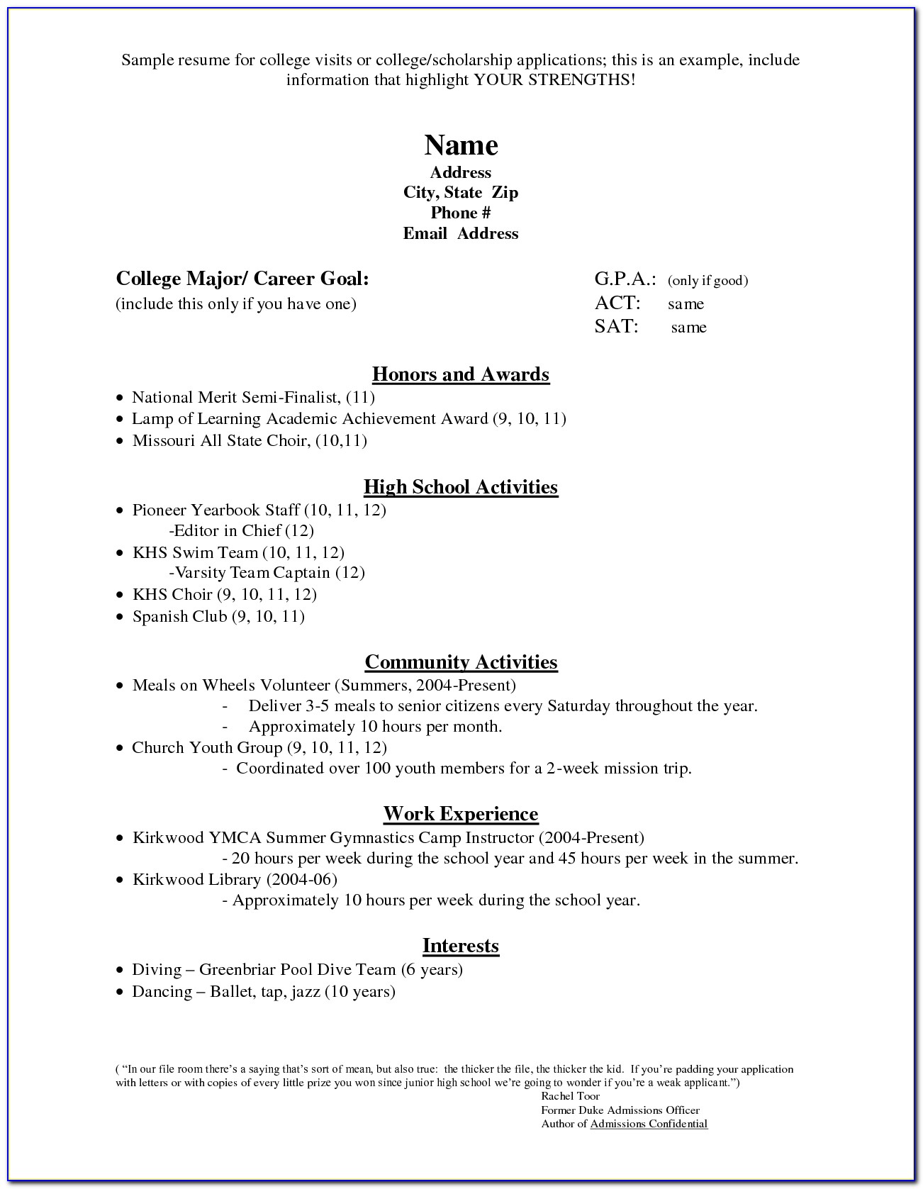 College Admissions Application Resume Throughout College Admission Resume Template