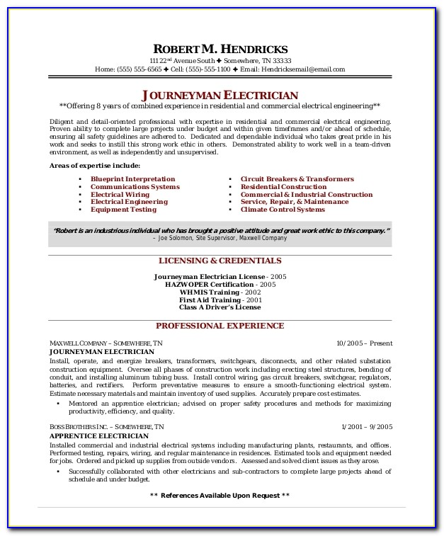 Resume Template For Electrician