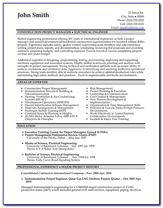 Resume Template For Project Manager