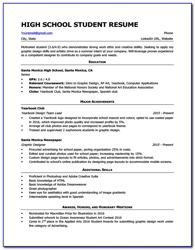 Resume Template For Students In High School