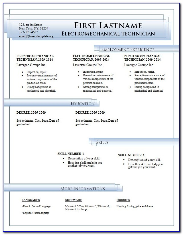 Resume Template For Word 2007