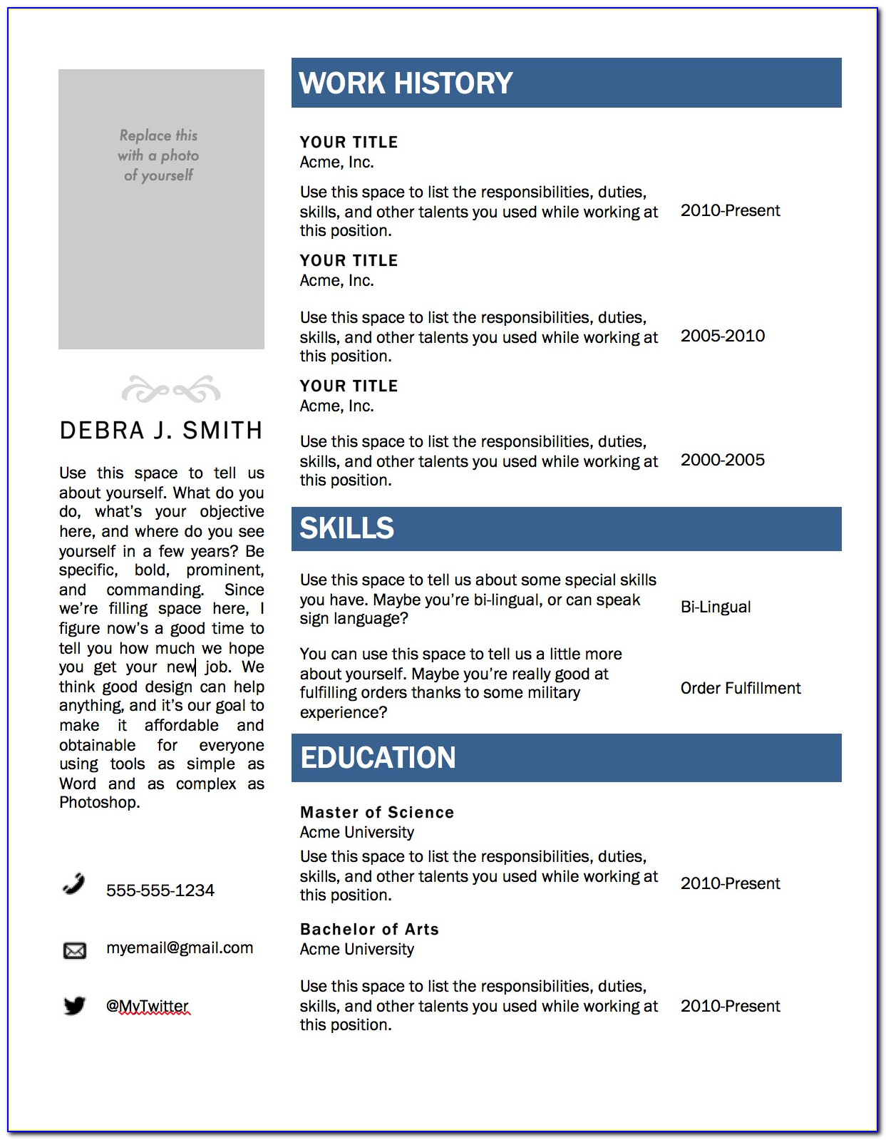 Resume Template Free Download For Microsoft Word