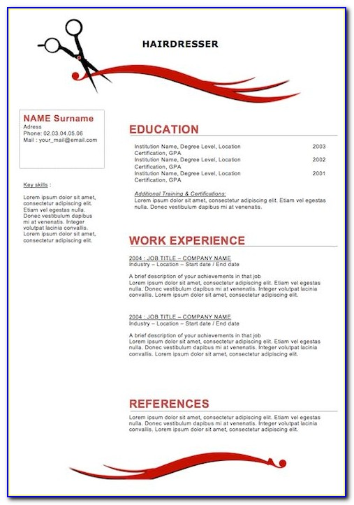 Resume Templates Cosmetology Student