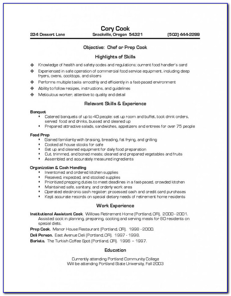 Resume Templates For Cooks