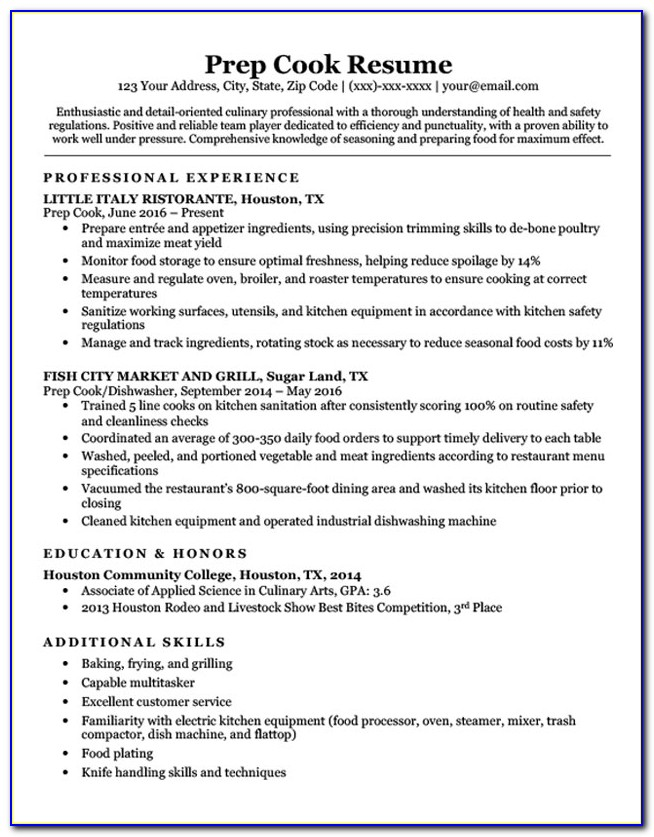 Resume Templates For Line Cooks