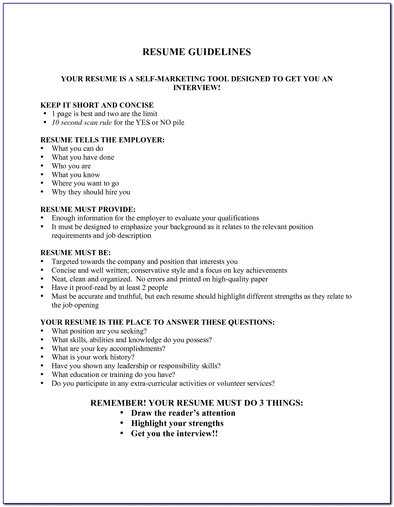 Guidelines For Resume Fieldstation.co With Resume Guidelines