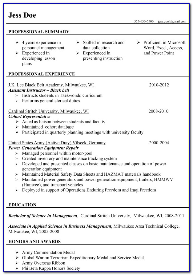 Resumes For Veterans Samples